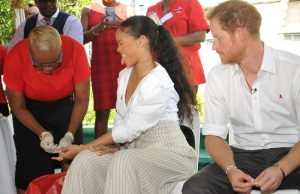 Britain's Prince Harry takes an HIV test alongside singer Rihanna to highlight World AIDS Day in Bridgetown, Barbados. REUTERS/Antonio Miller/Barbados Government Information Service (BGIS)/POOL