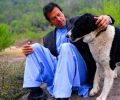 Imran Khan with his dog